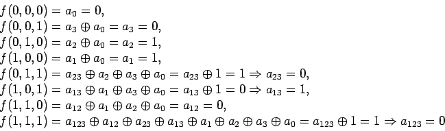 \begin{displaymath}\begin{array}{l}f (0, 0, 0) = a_0 = 0,\\f (0, 0, 1) = a_3...... = a_{1 2 3} \oplus 1 = 1 \Rightarrow a_{1 2 3} = 0\end{array}\end{displaymath}