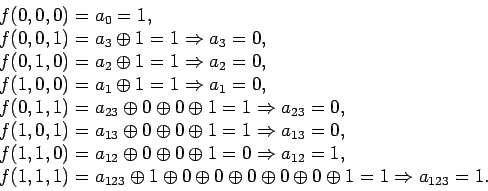 \begin{displaymath}\begin{array}{l}f (0, 0, 0) = a_0 = 1,\\f (0, 0, 1) = a_3...... 0 \oplus 0 \oplus 1 = 1\Rightarrow a_{1 2 3} = 1.\end{array}\end{displaymath}